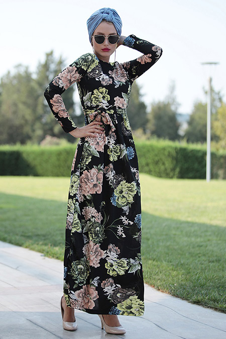 Selma Sarı Design Siyah Sarı Gonca Elbise