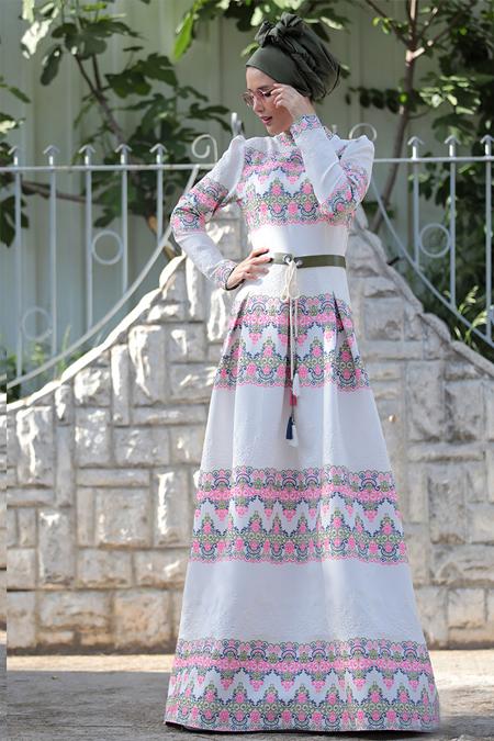 Selma Sarı Design Beyaz Desenli Elbise