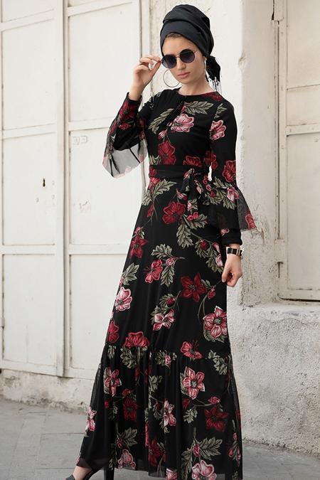 Selma Sarı Design Siyah Çiçek Desenli Elbise