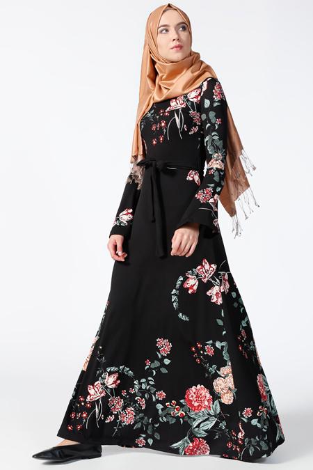 Tavin Siyah Gül Kurusu Desenli Elbise
