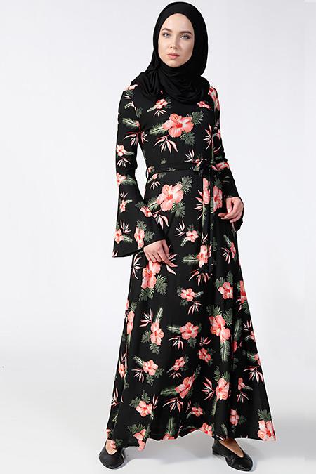 Tavin Siyah Pembe Desenli Elbise
