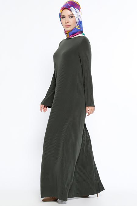 Topless Haki Piliseli Elbise