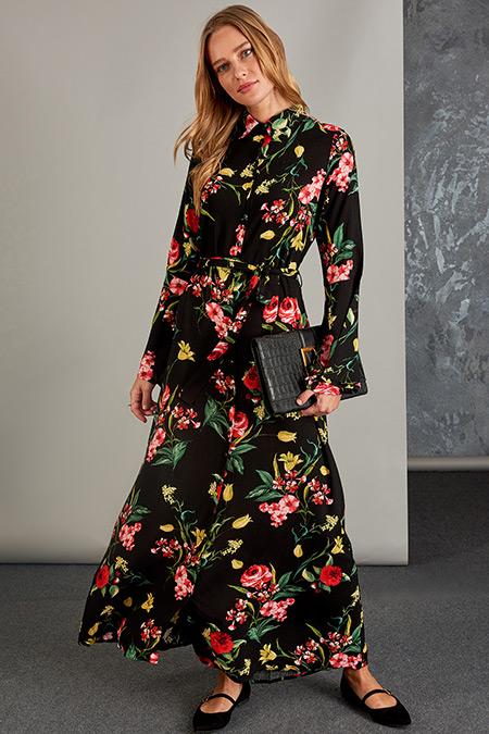 Vavist Çok Renkli Kol Volan Detaylı Elbise