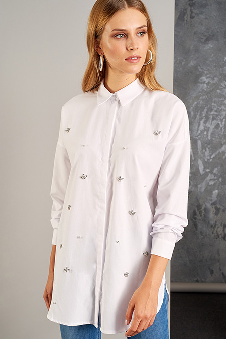 Vavist Beyaz Taş Detaylı Gömlek Tunik