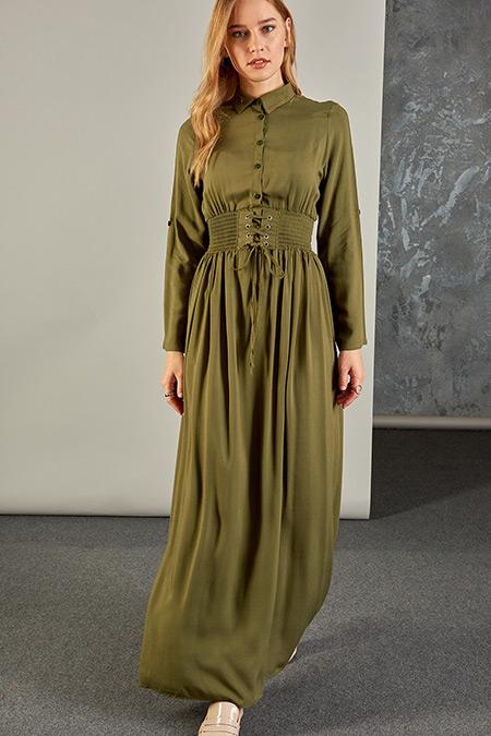 Vavist Haki Kuşgözü Detaylı Elbise