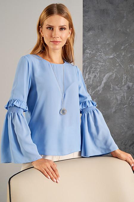 Vavist Mavi Kol Detaylı Kadın Bluz