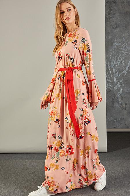 Vavist Pudra Kolları Volanlı Kuşaklı Elbise