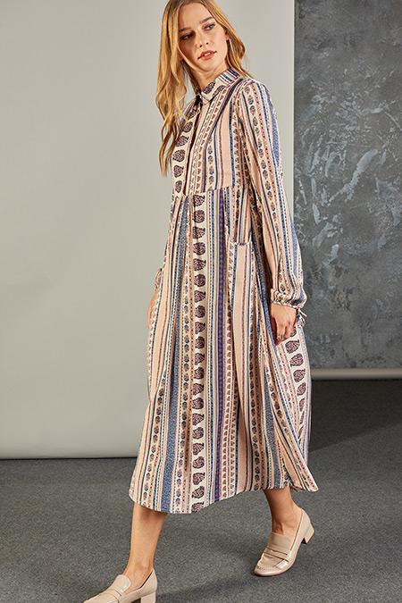 Vavist Pudra Uzun Kol Desenli Midi Elbise