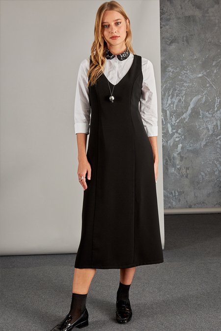 Vavist Siyah Jile Elbise