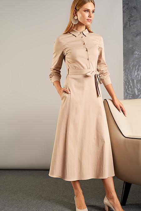 Vavist Taş Kuşak Detaylı Elbise