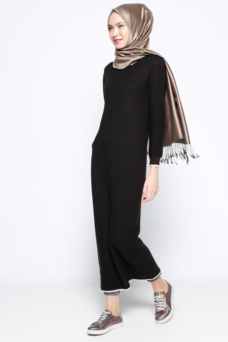 Zentoni Siyah Mevsimlik Elbise