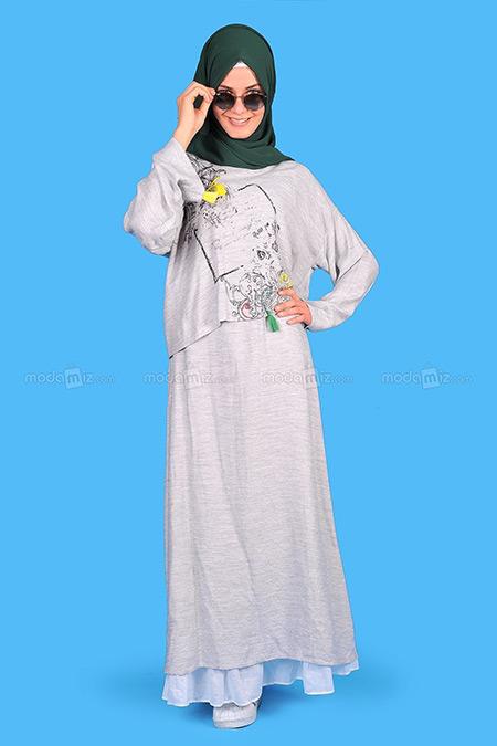AL MARWAH Gri Elbise