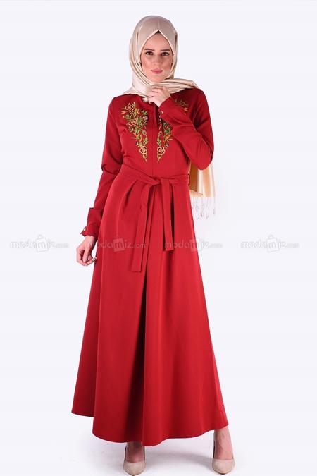 Aramıss Bordo Çiçek Nakışlı Elbise