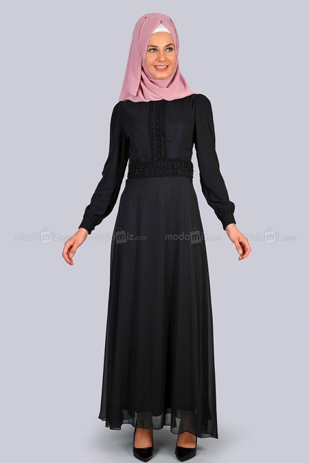 Aramiss Siyah Şifon Elbise