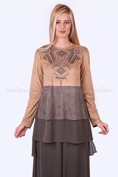 Al Marwah Süet Vizon Bluz