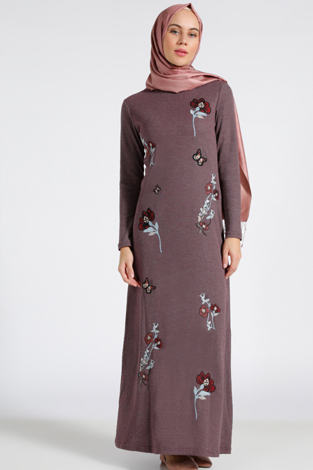 Benin Bordo Nakışlı Elbise
