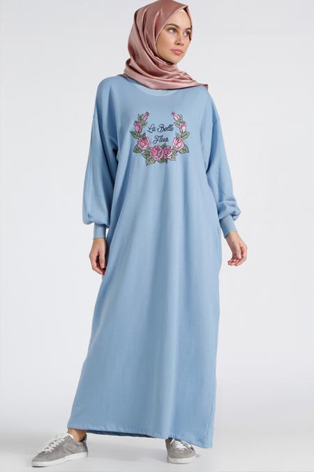 Benin Buz Mavisi Doğal Kumaşlı Nakışlı Elbise