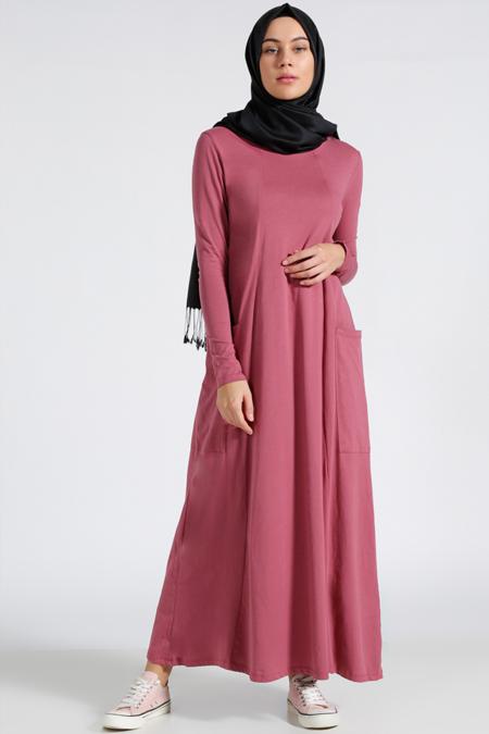 Benin Gül Kurusu Doğal Kumaşlı Salaş Elbise