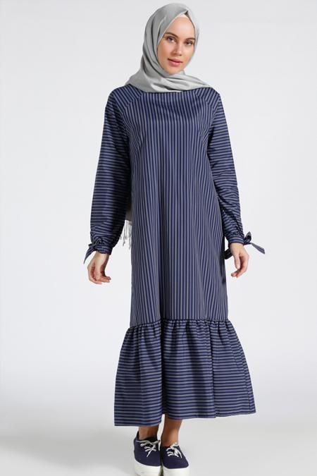 Benin Lacivert Mavi Çizgili Elbise