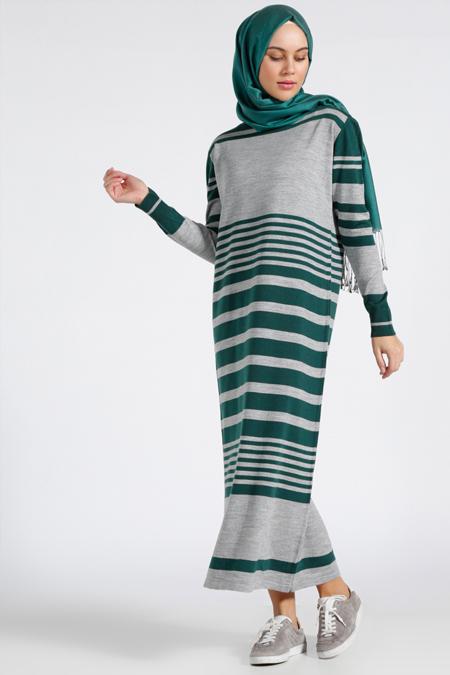 Benin Yeşil Çizgili Triko Elbise