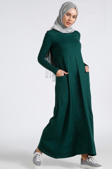 Benin Zümrüt Doğal Kumaşlı Salaş Elbise