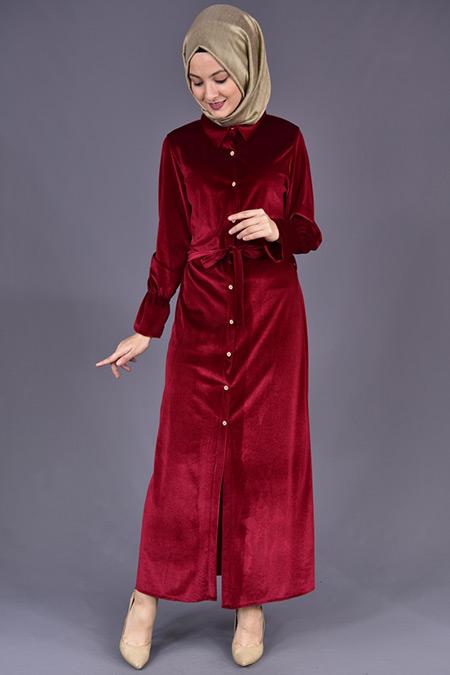 Bordo Boydan Düğmeli Kadife Elbise