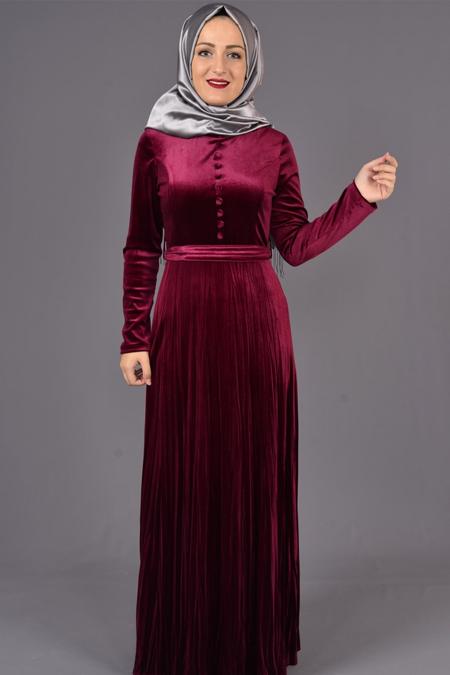 Bordo Etek Piliseli Kadife Elbise