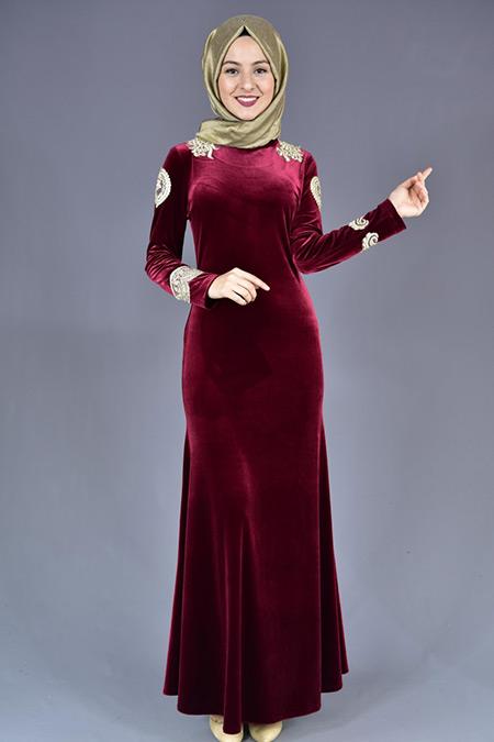 Bordo Fransız Dantelli Balık Model Kadife Elbise