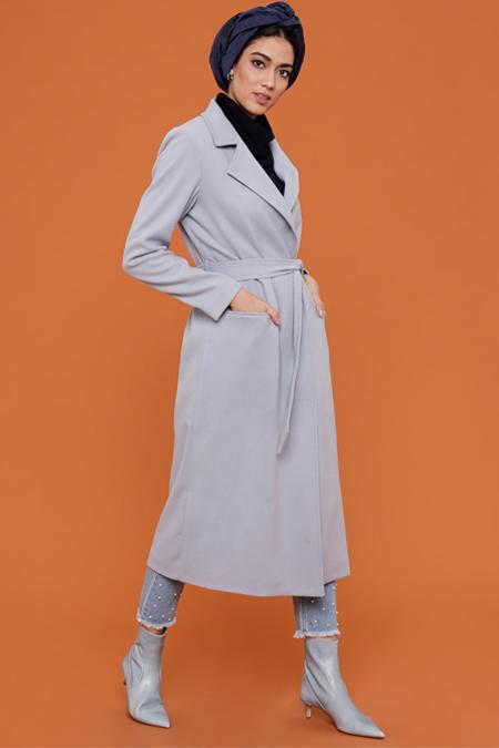 Fashion Box London Mavi Kaşe Kaban