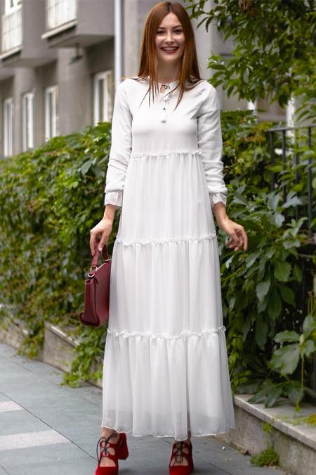 Femme Butik Beyaz Şifon Elbise