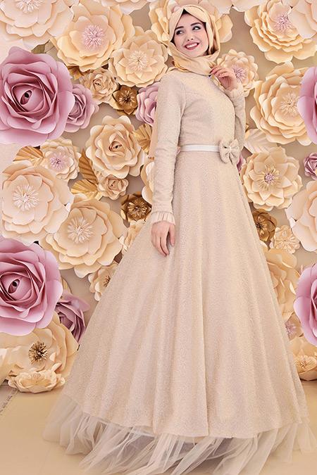 Gamze Özkul Gold Efsun Abiye Elbise