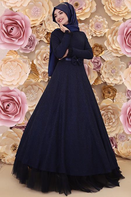 Gamze Özkul Lacivert Kemer Detaylı Elbise