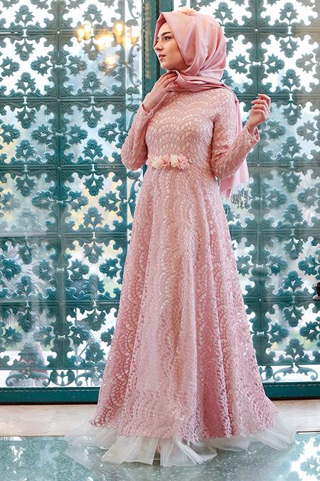 Gamze Özkul Pudra Dantelli Abiye Elbise