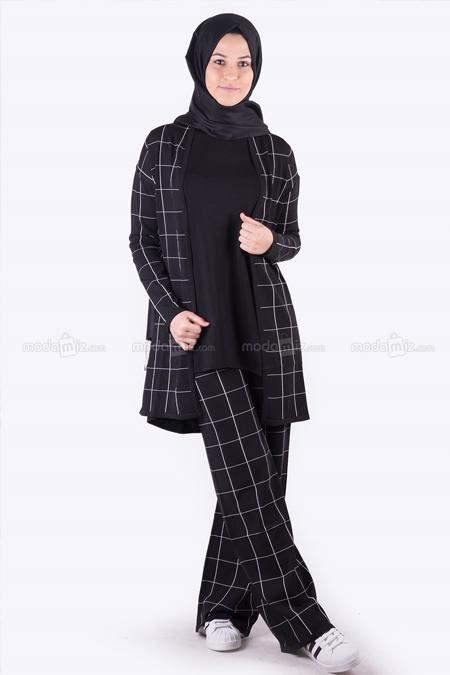 HLD Triko Ekru Siyah Triko Takım Pantolon