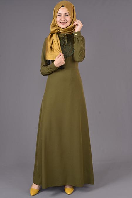 Haki Yaka Bağcıklı Elbise