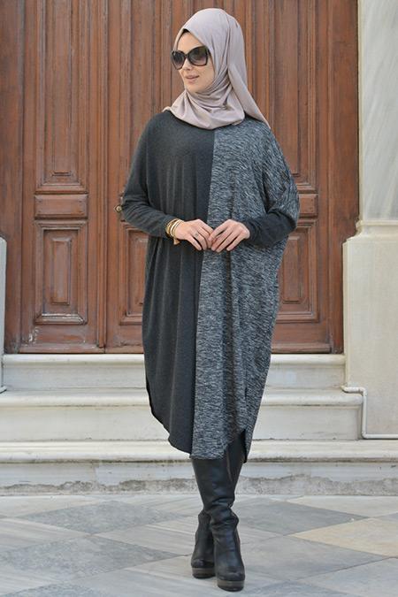 Henna Elısa Antrasit Siyah Kırçıllı Tunik