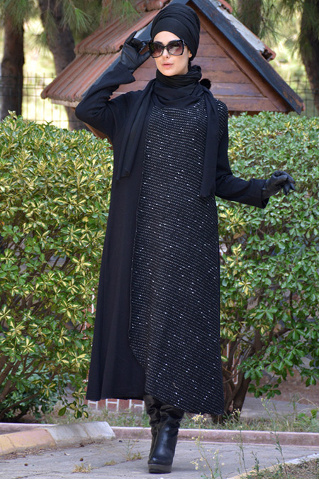 Henna Elısa Siyah Atkılı Ferace