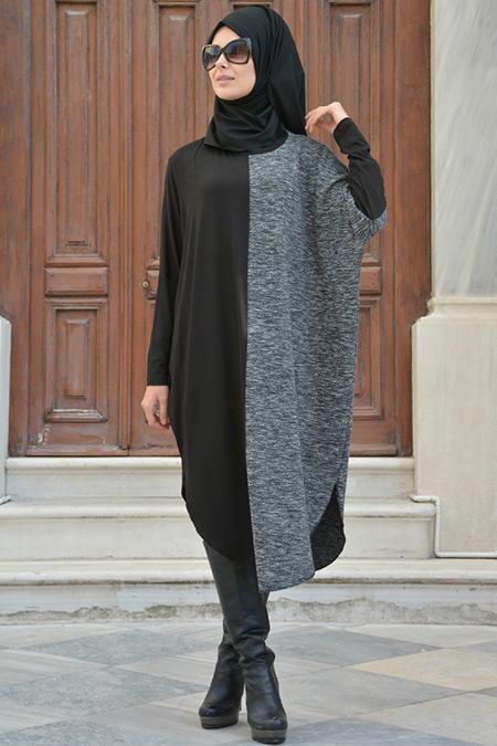 Henna Elısa Siyah Gri Kırçıllı Tunik