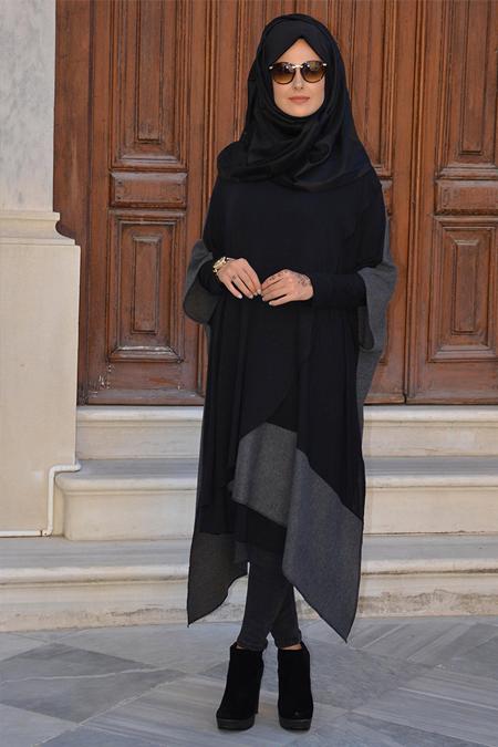 Henna Elısa Siyah Gri Asimetrik Tunik