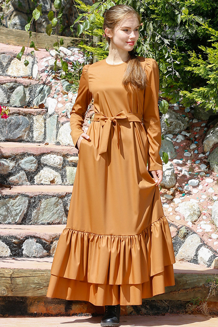 Kübra Biriktir Hardal Zuhal Fırfırlı Elbise