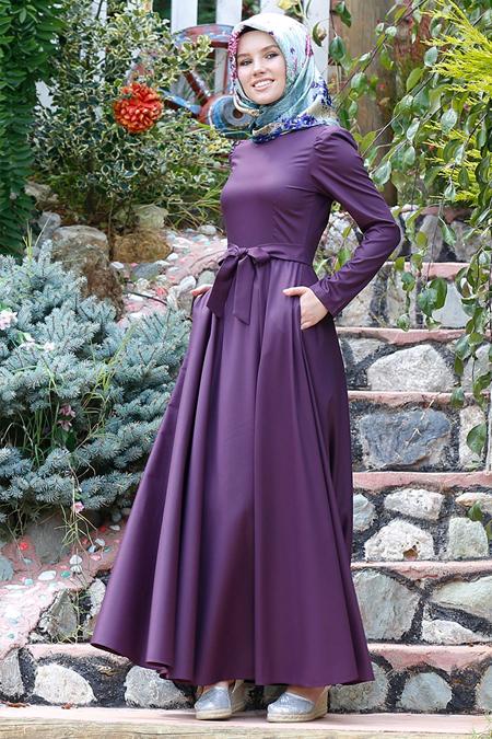 Kübra Biriktir Mor Matilda Kloş Elbise