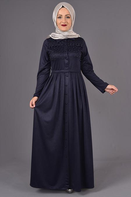 Lacivert İnci Detaylı Güpürlü Elbise