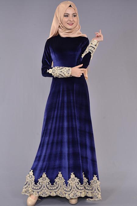 Lacivert Etek ve Kol Fransız Dantelli Kadife Elbise