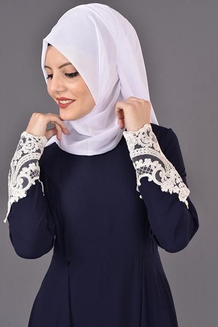 Lacivert Fransız Dantelli Abiye Elbise