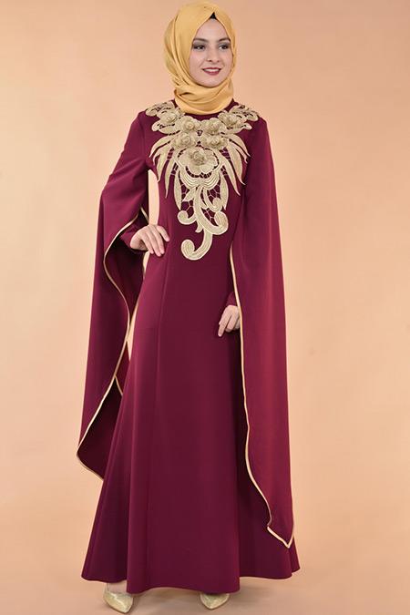 Mürdüm Kabartma Güpürlü Abiye Elbise