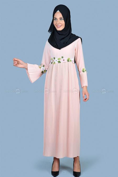 Modesty Pudra Dantelli Pileseli Elbise