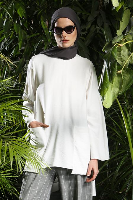 MODGREY Beyaz Uzun Kollu Önden Çepli Bluz