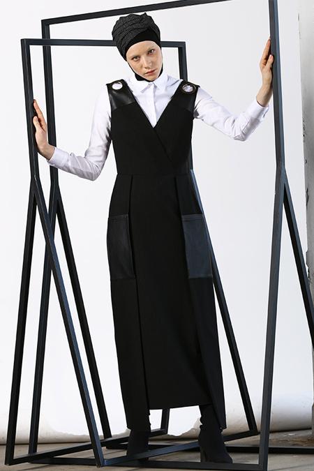 MODGREY Deri Detaylı Jile Elbise