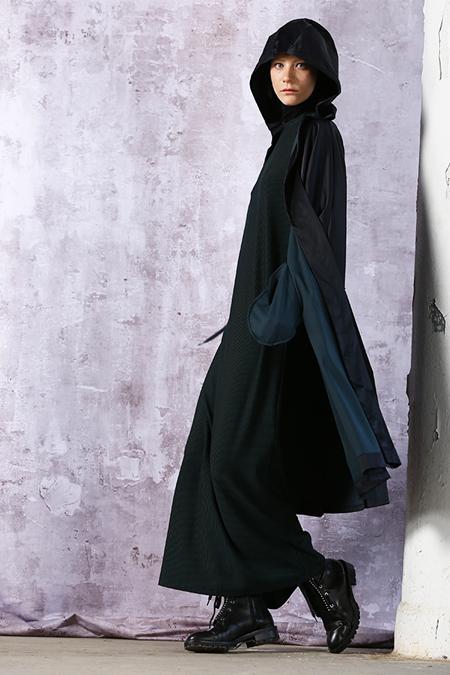 MODGREY Siyah Bisiklet Yaka Çizgili Elbise