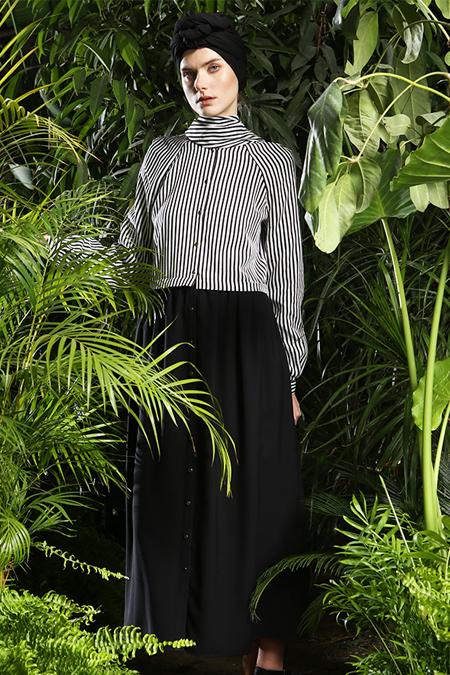 MODGREY Siyah Çizgili Elbise